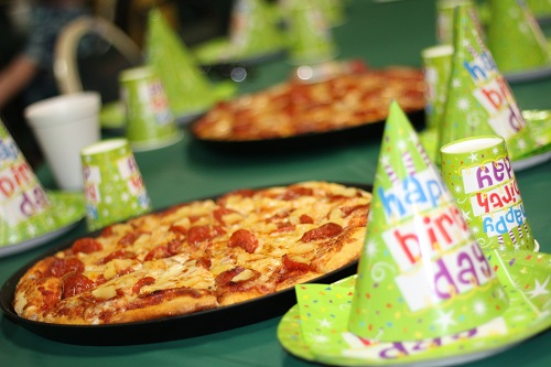 Birthday party with pizza