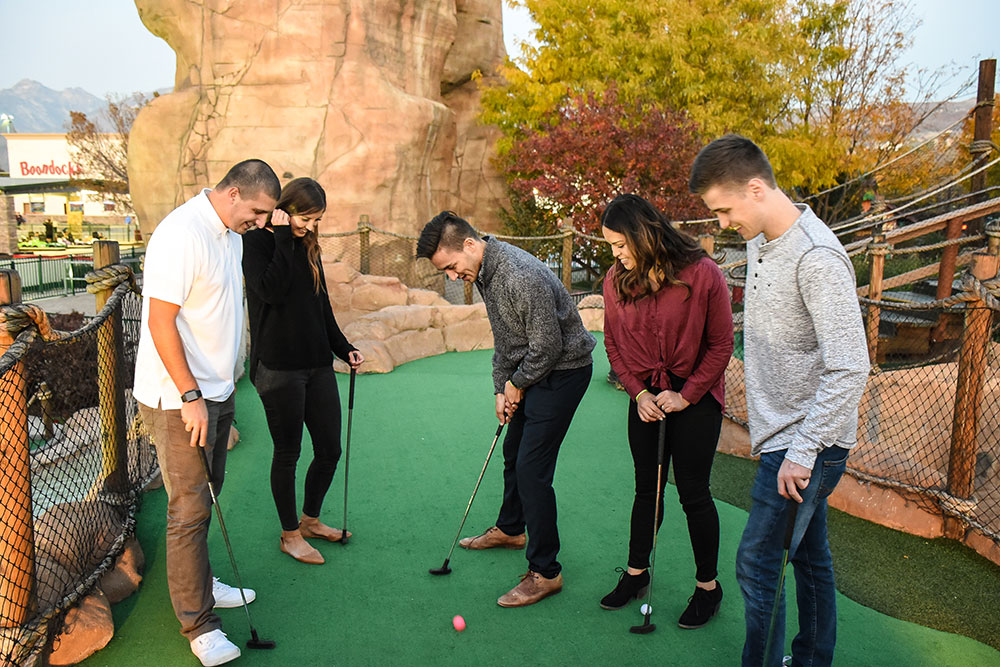 Group Playing Mini Golf