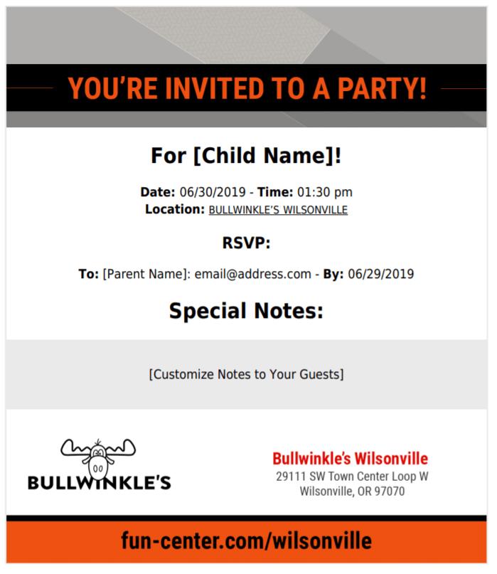 Fun Center Wilsonville Party Invite