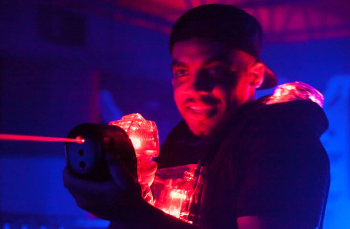male playing Laser tag