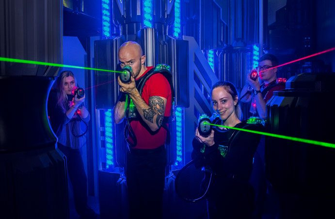 4 young adults Laser Tag Group