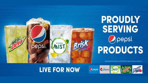 Proudly serving Pepsi products