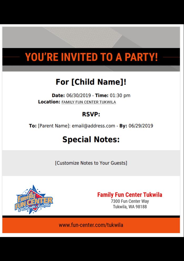 Sample print invite for Tukwila fun center