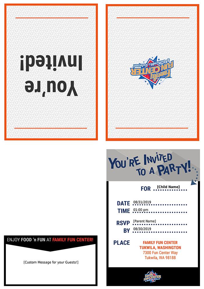 Printable invitation for Tukwila fun center