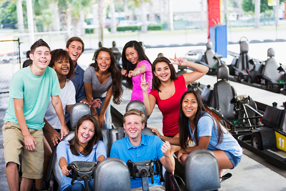 young adult group at go karts