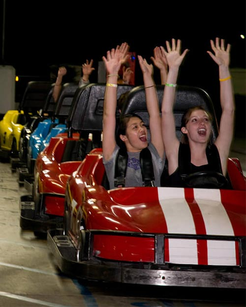Attractions | Go Karts group raising arms